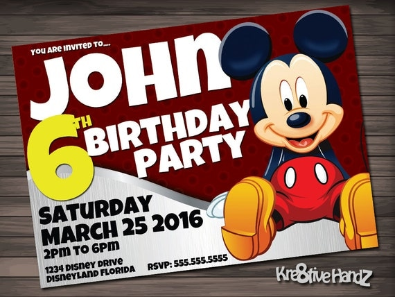 Mickey Mouse birthday invitation - personalized printable disney invite for boys birthday party - includes free thank you card