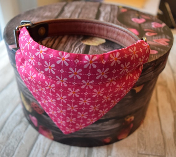"""Bandana """"Flowering Pink"""" Bandanas for small or medium sized dogs cats, Light pink flowers on pink Background"""