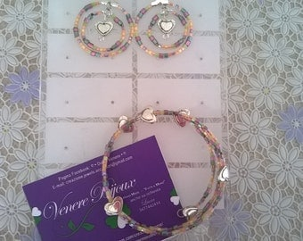 Jewellery set with bracelet and earrings multicolor