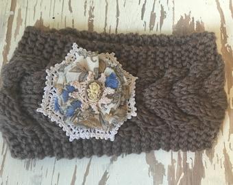 Brown Ladies Knitted Embellished Earwarmer / Headwarmer