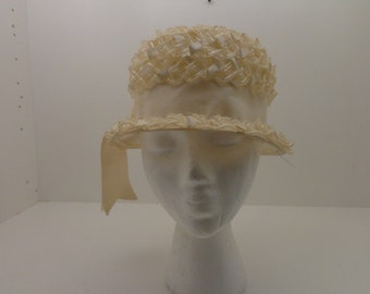 Vintage Ivory Hat with Gros Grain Trim