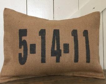 Date Pillow, Wedding Date, Anniversary Pillow, Burlap pillow
