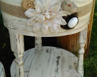 Specialty White Shabby Chic End Table With little bird and nest