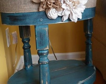 Blue Beautiful Shabby Chic accent, end, side, or bedside table, round or oval.