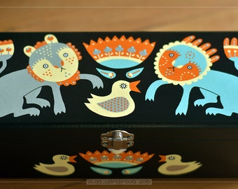 """Hand Painted Jewelry Box """"Two cats playing"""" OOAK"""