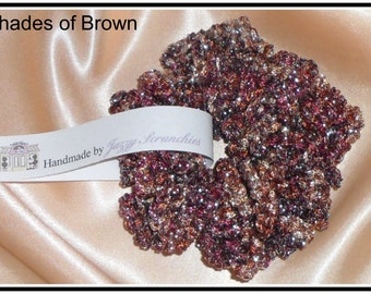 S05# Brown Scrunchie, metallic, SPARKLE