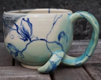 Hand-painted Blue Floral Ceramic Coffee Mug
