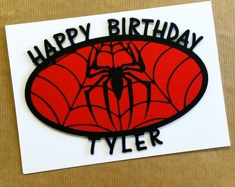 Marvel Spiderman Birthday Card - Papercut Hand Made Blank Card - Greetings Card - Can Be Personalised