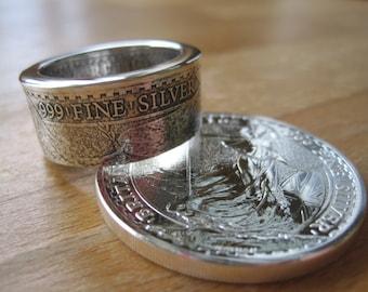 2016 troy silver Britannia coin ring 2 pound coin ring