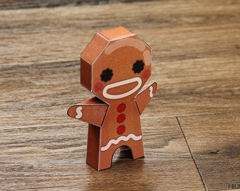 Christmas Gingerbread Guy Paper Toy