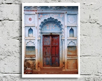 Wood Door Photography, Orcha, India, Red Door, Vibrant Multi-Color, Faded Blue Stucco, Fine Art Print, Affordable Art, Home Decor