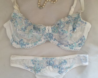 White w/ Shades of Blue lace Swarovski Crystal Bra and Panties Set  32C