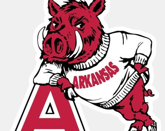 Arkansas Razorbacks Primary Logo 1951-1962 Self Adhesive Vinyl Sticker Die-Cut by contour of the logo, Waterproof and UV resistant!