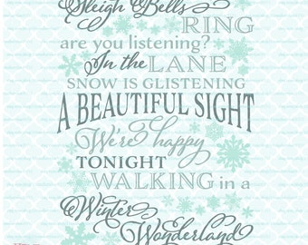 Sleigh Bells Ring Walking In a Winter Wonderland Christmas Song Winter Sign Snowflakes svg dxf eps jpg ai files for Cricut Silhouette