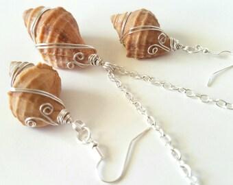 Sea shell earrings, seashell pendant, seashell jewelry, wire wrap shells, conch shell jewelry, conch shell pendant, beach, mermaid jewelry