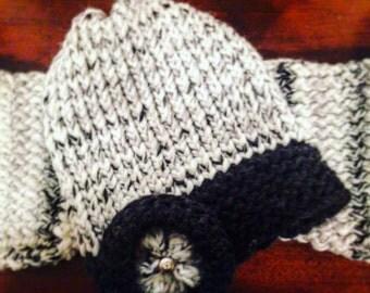 White & Black Floral Knit Hat