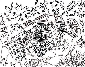 Traxxas Summit Autumn, Drawing, Truck, 4x4, RC, Crawler, Car, Coloring, Book, Digital, Download, Art, Doodle, Cartoon, Custom, Commision