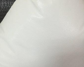 Faux Leather White Decorative Pillow