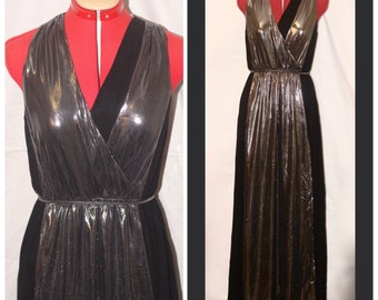 Silver and black maxi dress