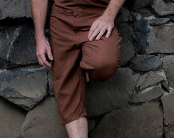 SUREN SHORTS Dark Brown Men Khadi Shorts Earthy Clothing Organic Natural Hand Woven Tribal Clothing Harem Dhoti Indian Pants