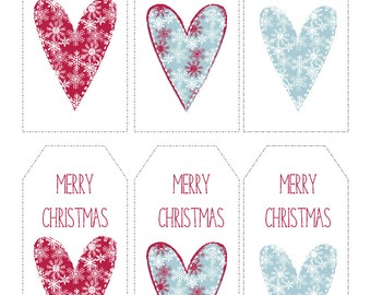 Christmas Gift Tags Printable Snowflake Hearts