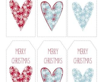 Christmas Gift Tags Printable Snowflake Hearts