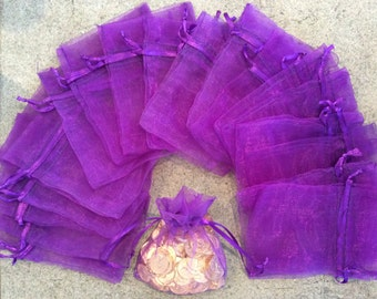 12 pc purple 3x4 organza gift bags jewelry pouches wedding party bridal shower baby shower