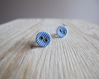 Blue and White Striped Little Button Earrings