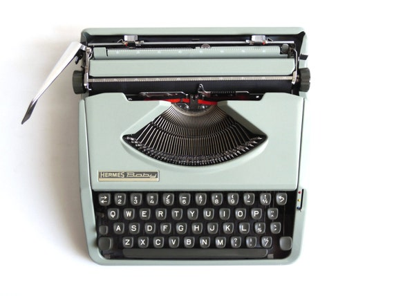 Working Typewriter 1960's Mint green Hermes Baby QWERTY