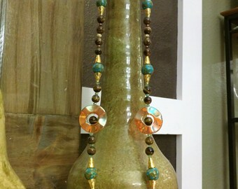 Tiger's Eye, Opalite, Turquoise & Crystal Bead Necklase