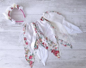 Dahlia Fairy Skirt Flower Crown Gypsy Skirt Faerie Skirt Girls Birthday Outfit Shabby Chic Photo Prop Outfit Fairy Tutu Party Costume
