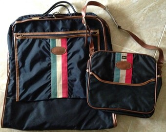 Vintage 1970s Lark Luggage Set with Carry-on and Garment Bag