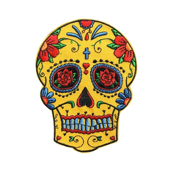 Yellow Sugar Skull Patch Embroidered Punk Iron On Sew On