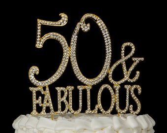 50 & Fabulous Cake Topper for 50th Birthday - Gold Rhinestone Metal Party Decoration