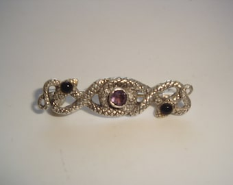 Vintage Amethyst and Marcasite Sterling Silver Pin