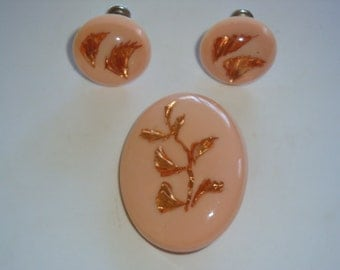 1950's Lucite Pin and Earrings Set