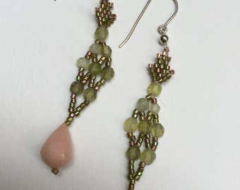 Pink And Green Earrings - An Original Creation For Ears