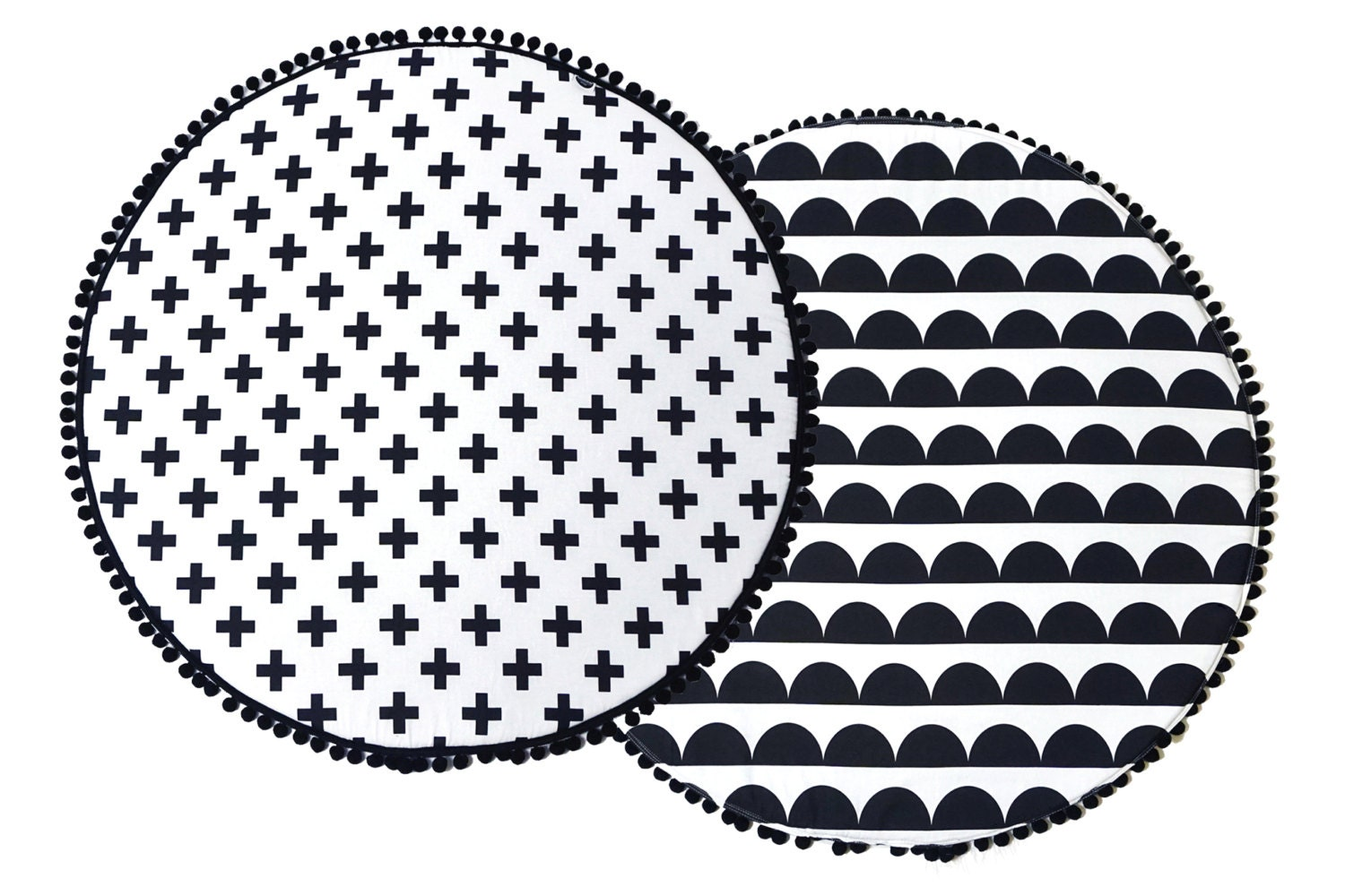 Padded Play Mat Monochrome Baby Playmat Round Play Mat