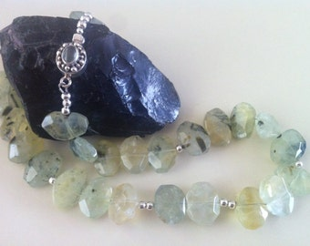 Prehnite nuggets, silver beads and a gorgeous prehnite sterling silver clasp  neclace (839)