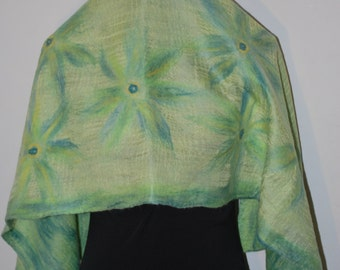 SALE 50% off Nuno Felted Eco Superfine Merino Wool and Silk/Shiffon Scarf OOAK