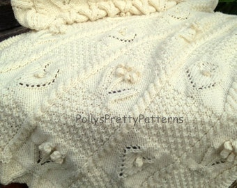 PDF Knitting Pattern - Babies Pram or Cot Blanket & Cushion Cover ~ Flowers/Floral - Instant Download