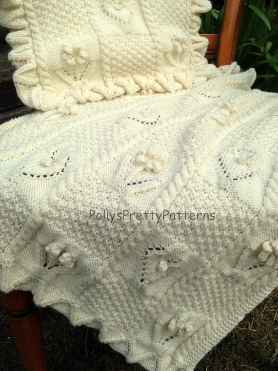 PDF Knitting Pattern Babies Pram or Cot Blanket & Cushion