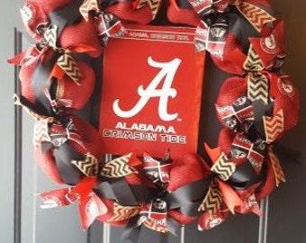 Alabama Crimson Tide burlap wreath