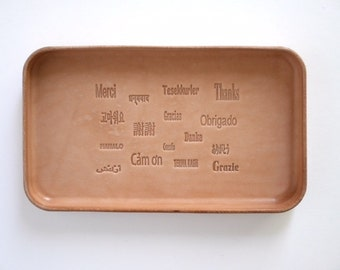 "Leather Tray ""Many Thanks"""