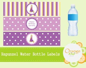 Rapunzel Tangled Birthday Party Water Bottle Labels, Rapunzel Theme Party Bottle Wrappers, Waterproof Bottle Labels