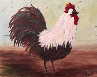 Acrylic Rooster - hand painted art - kitchen decor