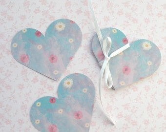30 Card Hearts - for little notes, scrap booking, crafting projects - Printed on one side.