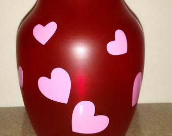 Happy Hearts Red GalssVase- Valentine's Day