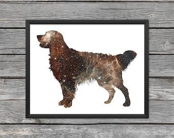 Golden Retriever Poster Golden Retriever Art Golden Retriever Print Dog Print Dog Art Space Art Galaxy Art Nebula Art Instant Download