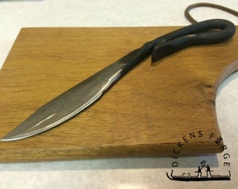 Forged Rustic Knife, cutting board and Hook